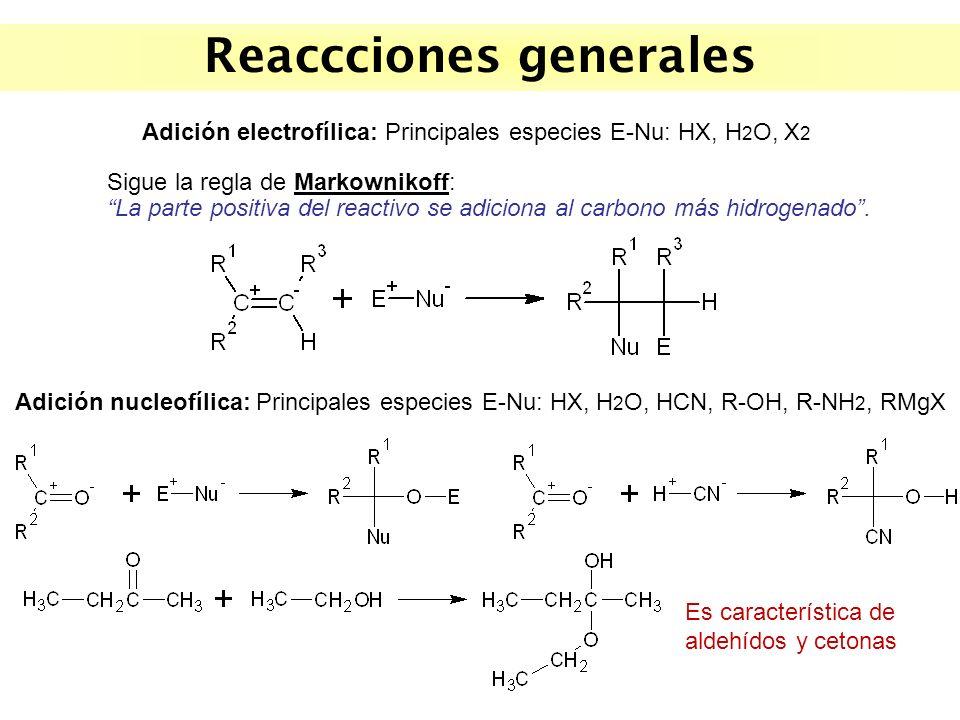 Reaccciones generales Adición nucleofílica: Principales especies E-Nu: HX, H 2 O, HCN, R-OH, R-NH 2, RMgX Adición electrofílica: Principales especies