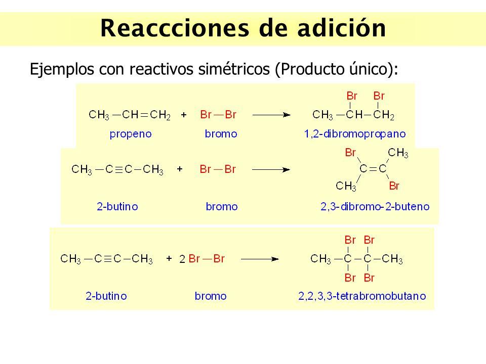 Reaccciones de adición Ejemplos con reactivos simétricos (Producto único):