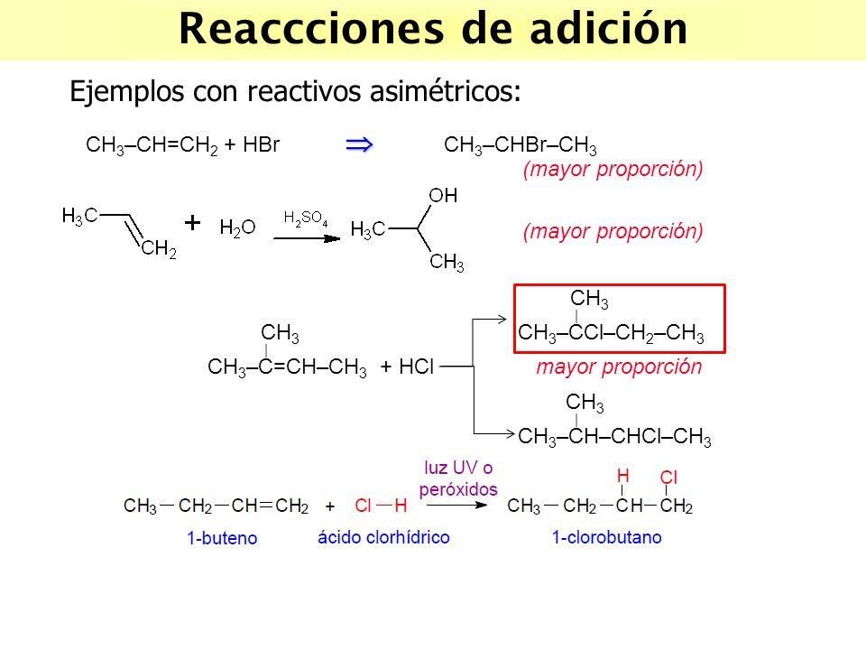 CH 3 | CH 3 CH 3 –CCl–CH 2 –CH 3 | CH 3 –C=CH–CH 3 + HCl mayor proporción CH 3 | CH 3 –CH–CHCl–CH 3 Reaccciones de adición Ejemplos con reactivos asim