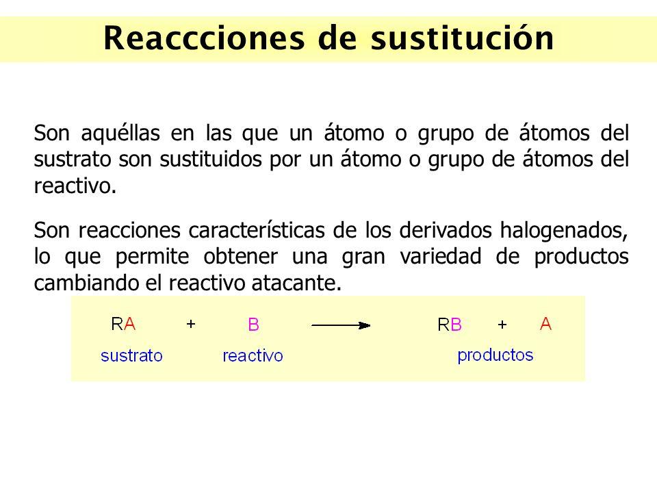 Reaccciones de sustitución Son aquéllas en las que un átomo o grupo de átomos del sustrato son sustituidos por un átomo o grupo de átomos del reactivo