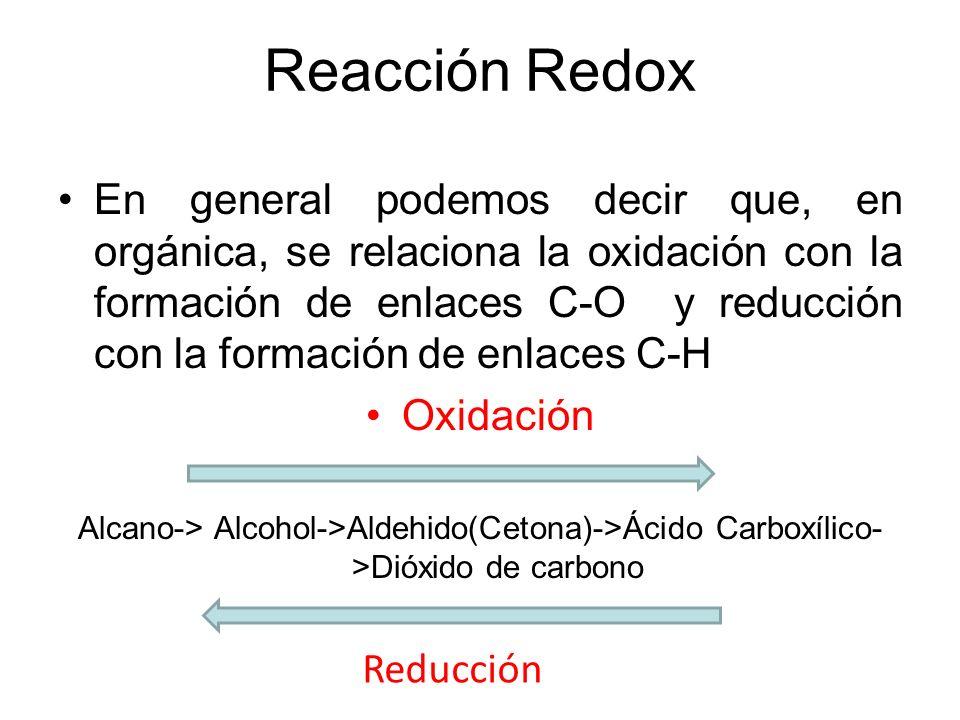 Reacción Redox En general podemos decir que, en orgánica, se relaciona la oxidación con la formación de enlaces C-O y reducción con la formación de en