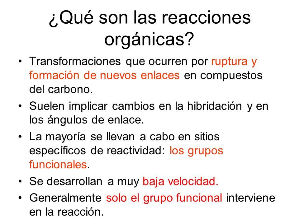 Reaccciones de sustitución Son aquéllas en las que un átomo o grupo de átomos del sustrato son sustituidos por un átomo o grupo de átomos del reactivo.