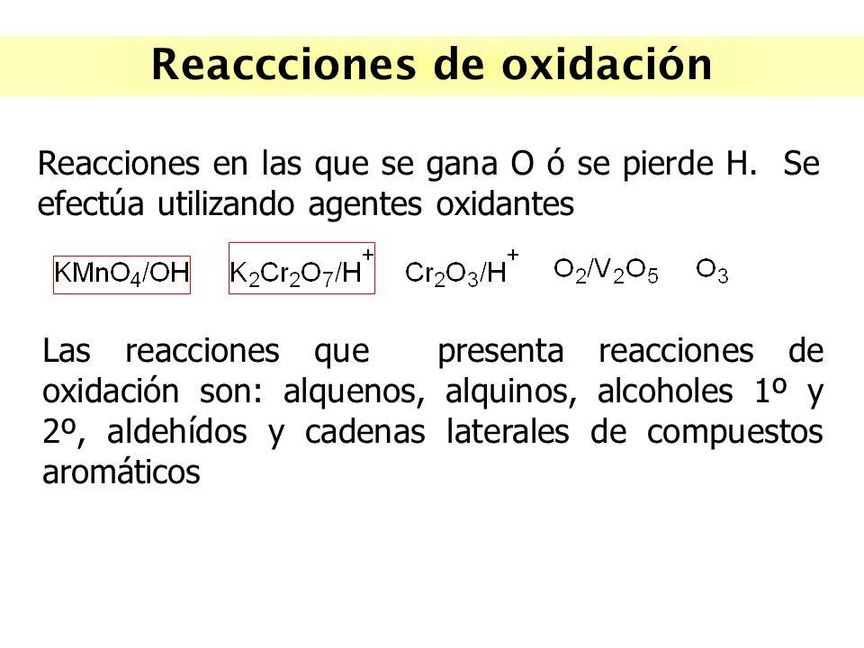 Reaccciones de oxidación Reacciones en las que se gana O ó se pierde H. Se efectúa utilizando agentes oxidantes Las reacciones que presenta reacciones