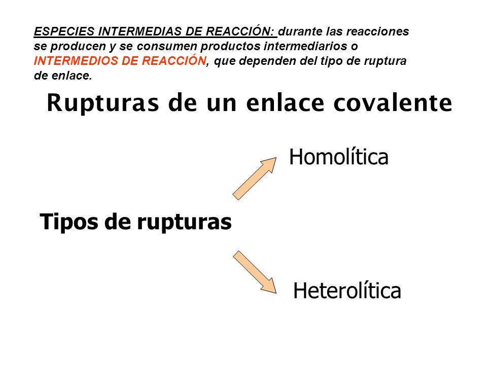 Rupturas homolíticas * Se forman radicales libres A : B A + B..