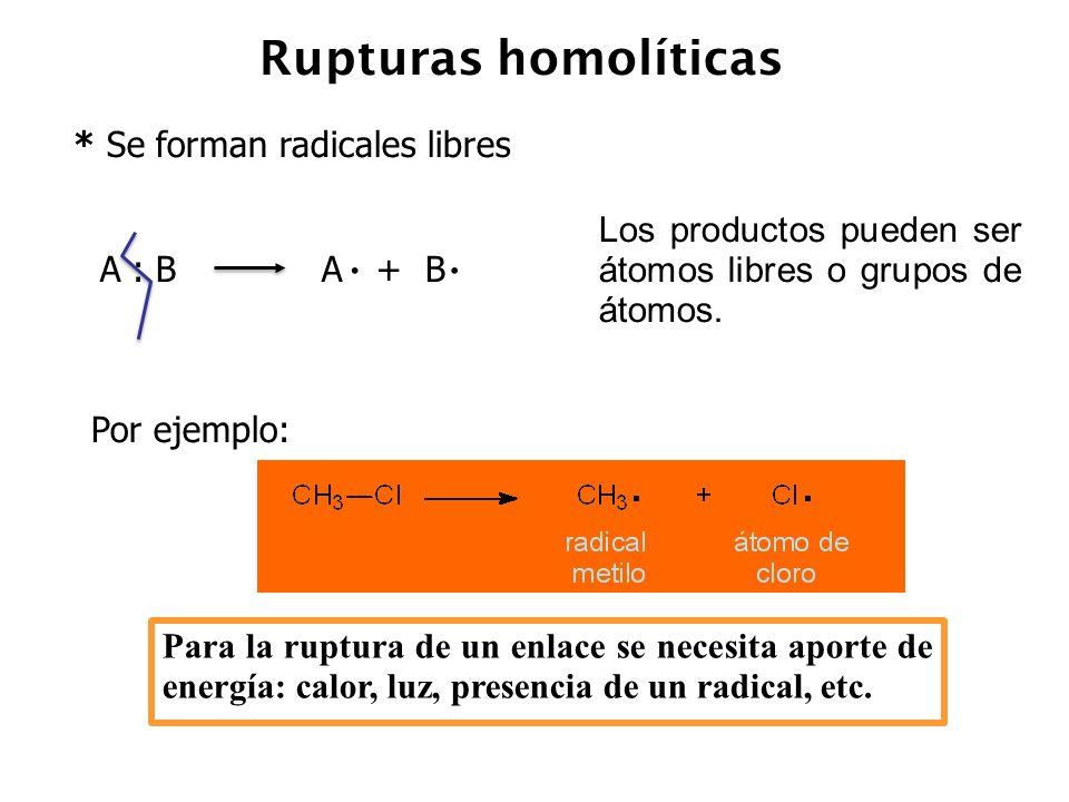 Rupturas heterolíticas * Se forman iones.
