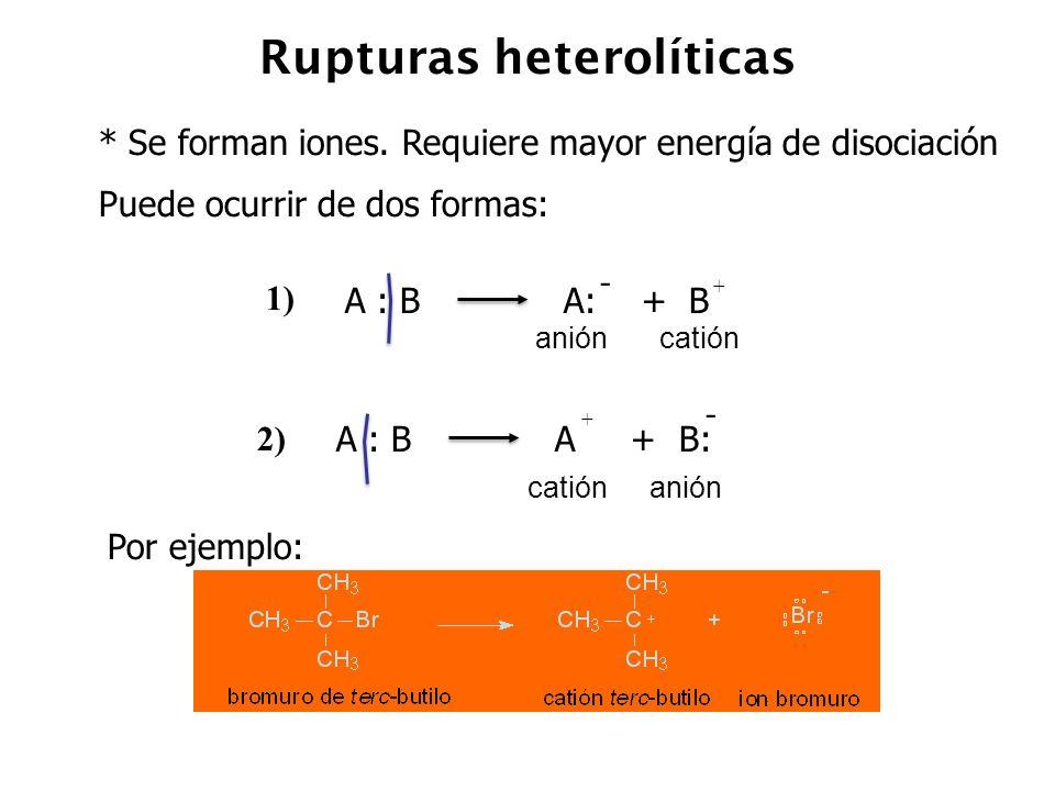 Rupturas heterolíticas * Se forman iones. Requiere mayor energía de disociación Puede ocurrir de dos formas: A : B A: + B - + anióncatión 1) A : B A +