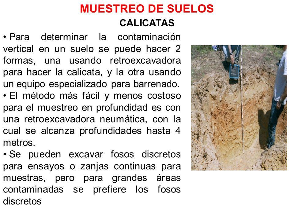 CALICATAS Para determinar la contaminación vertical en un suelo se puede hacer 2 formas, una usando retroexcavadora para hacer la calicata, y la otra