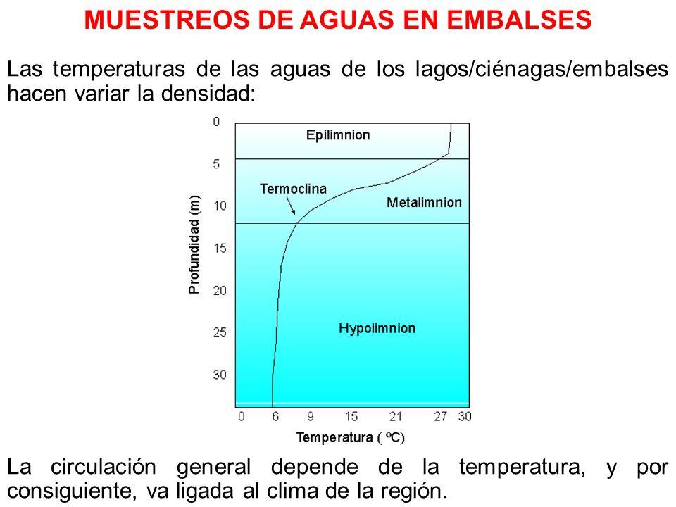 Las temperaturas de las aguas de los lagos/ciénagas/embalses hacen variar la densidad: La circulación general depende de la temperatura, y por consigu