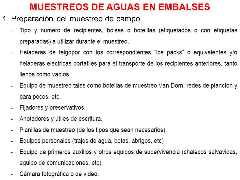 1. Preparación del muestreo de campo MUESTREOS DE AGUAS EN EMBALSES