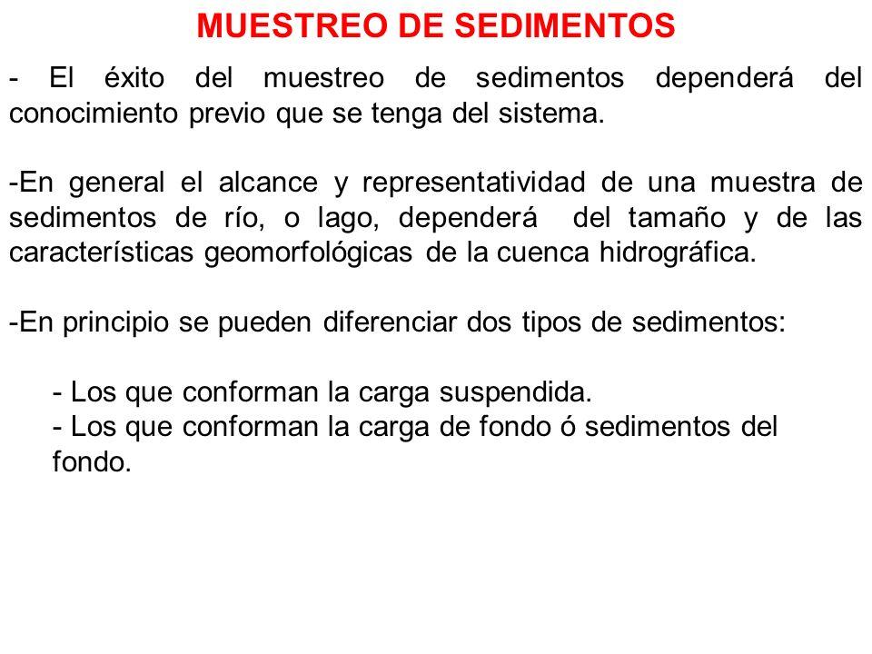 MUESTREO DE SEDIMENTOS - El éxito del muestreo de sedimentos dependerá del conocimiento previo que se tenga del sistema. -En general el alcance y repr