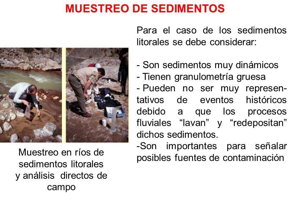 MUESTREO DE SEDIMENTOS Muestreo en ríos de sedimentos litorales y análisis directos de campo Para el caso de los sedimentos litorales se debe consider