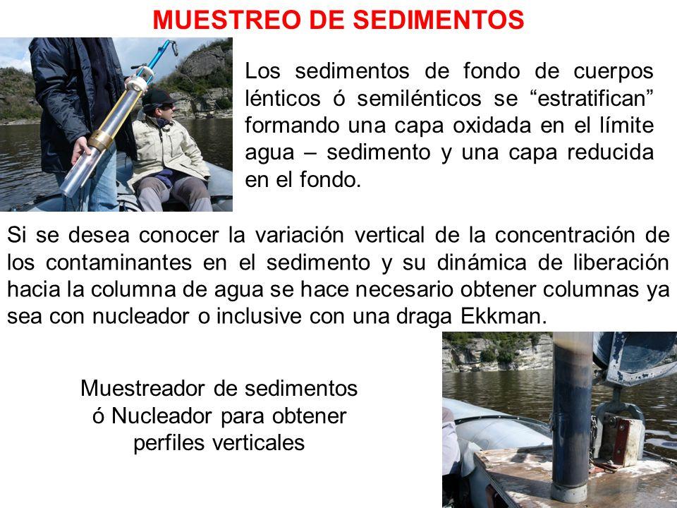 MUESTREO DE SEDIMENTOS Muestreador de sedimentos ó Nucleador para obtener perfiles verticales Los sedimentos de fondo de cuerpos lénticos ó semiléntic