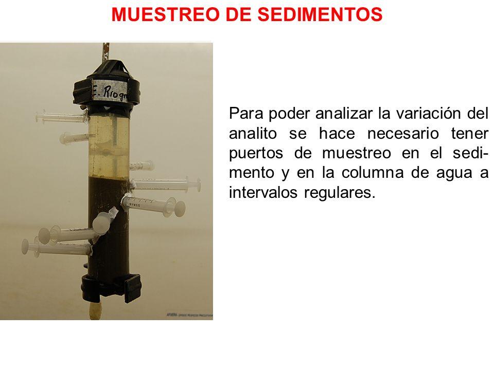 MUESTREO DE SEDIMENTOS Para poder analizar la variación del analito se hace necesario tener puertos de muestreo en el sedi- mento y en la columna de a