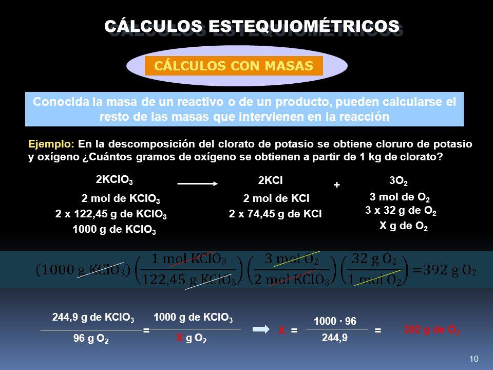 10 CÁLCULOS ESTEQUIOMÉTRICOS Conocida la masa de un reactivo o de un producto, pueden calcularse el resto de las masas que intervienen en la reacción Ejemplo: En la descomposición del clorato de potasio se obtiene cloruro de potasio y oxígeno ¿Cuántos gramos de oxígeno se obtienen a partir de 1 kg de clorato.