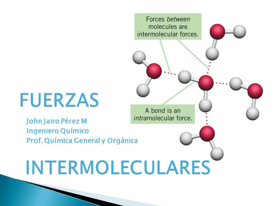 FUERZAS INTRAMOLECULARES: Fuerzas que se dan en el interior de las moléculas :Enlace Químico.
