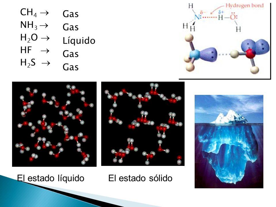 CH 4 NH 3 H 2 O HF H 2 S Gas Líquido Gas El estado líquidoEl estado sólido