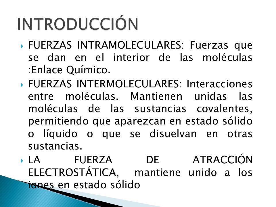 FUERZAS INTRAMOLECULARES: Fuerzas que se dan en el interior de las moléculas :Enlace Químico. FUERZAS INTERMOLECULARES: Interacciones entre moléculas.