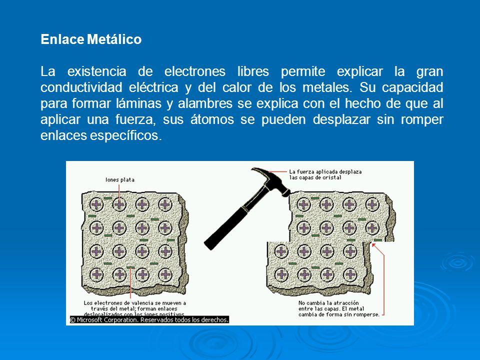 Enlace Metálico La existencia de electrones libres permite explicar la gran conductividad eléctrica y del calor de los metales.