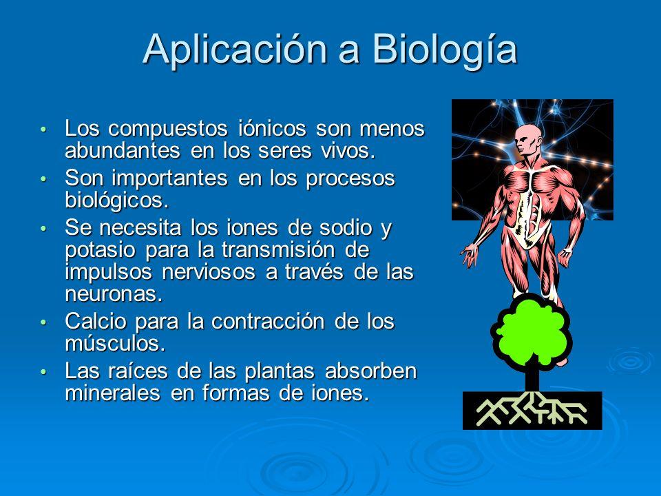 Aplicación a Biología Los compuestos iónicos son menos abundantes en los seres vivos.
