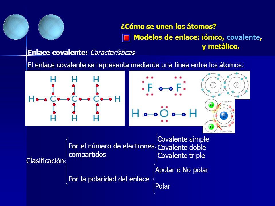 ¿Cómo se unen los átomos? Enlace covalente: Características El enlace covalente se representa mediante una línea entre los átomos: Clasificación Por e