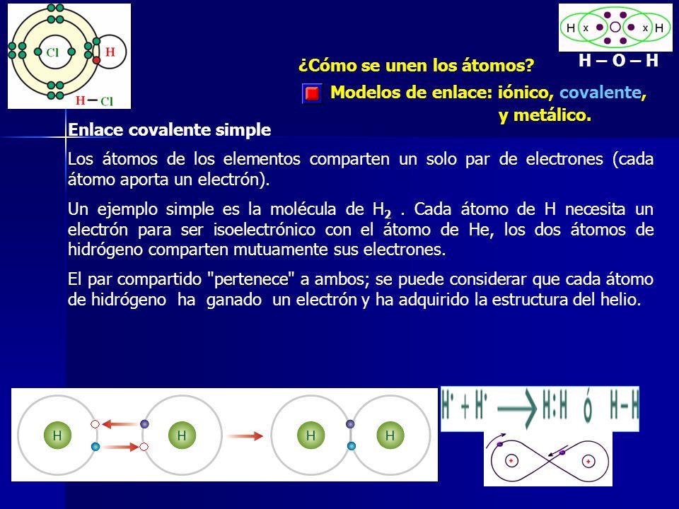 ¿Cómo se unen los átomos? Modelos de enlace: iónico, covalente, y metálico. Enlace covalente simple Los átomos de los elementos comparten un solo par