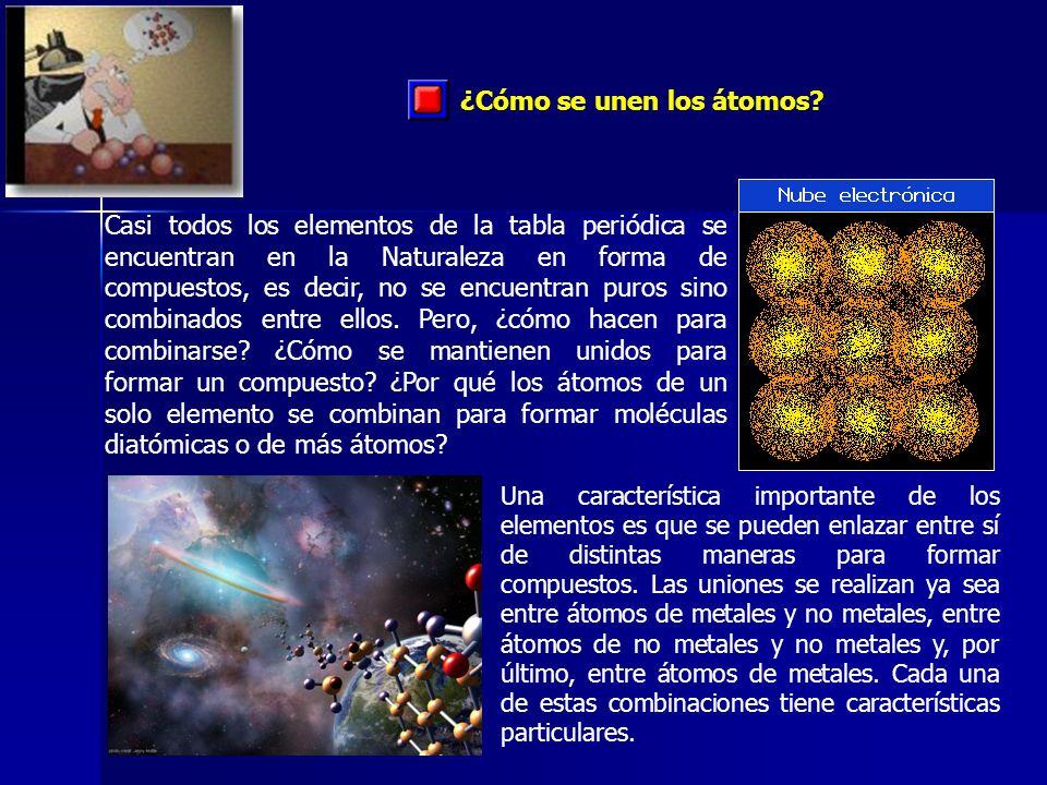 ¿Cómo se unen los átomos? Casi todos los elementos de la tabla periódica se encuentran en la Naturaleza en forma de compuestos, es decir, no se encuen