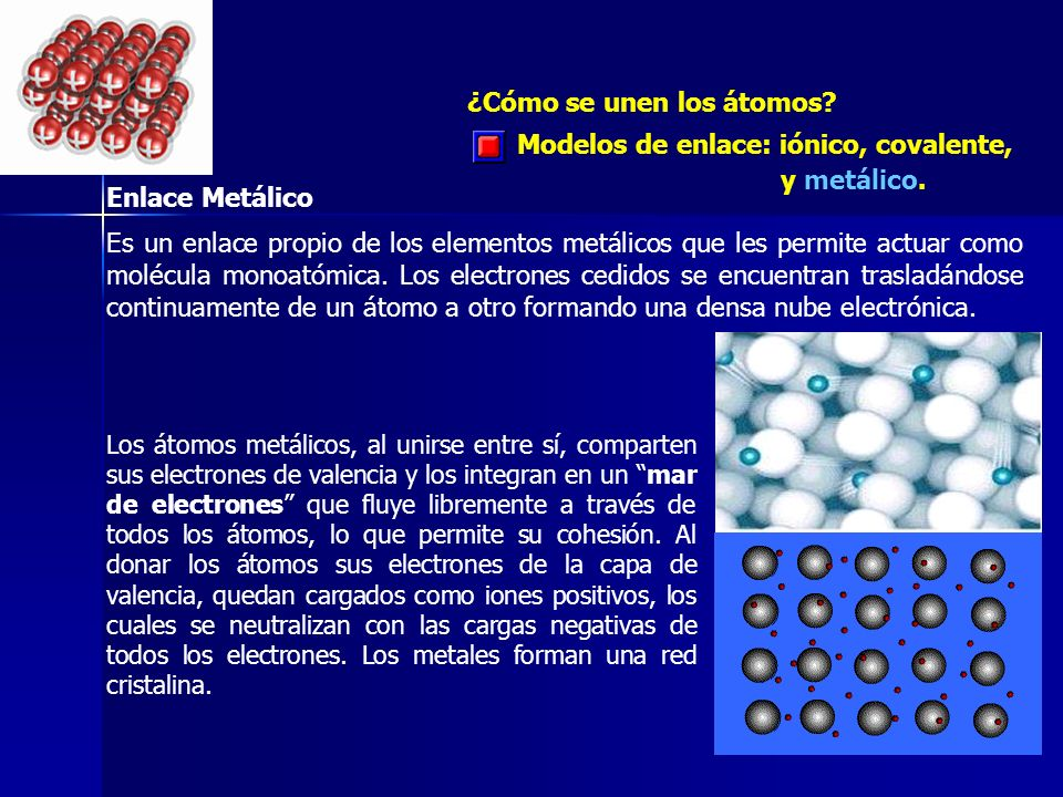 ¿Cómo se unen los átomos? Modelos de enlace: iónico, covalente, y metálico. Enlace Metálico Es un enlace propio de los elementos metálicos que les per