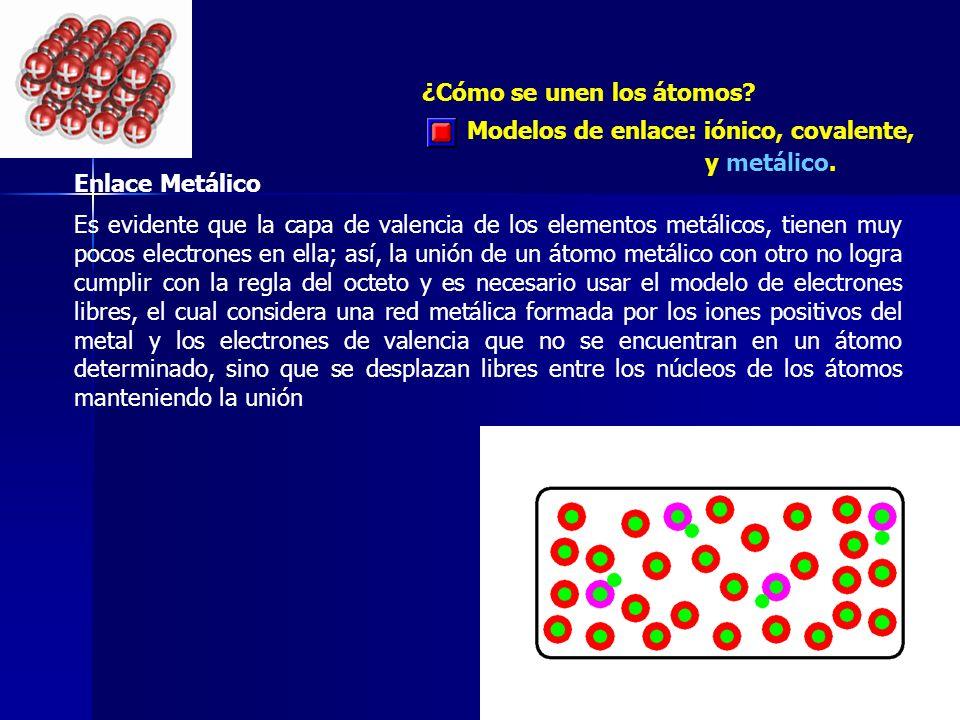 ¿Cómo se unen los átomos? Enlace Metálico Es evidente que la capa de valencia de los elementos metálicos, tienen muy pocos electrones en ella; así, la