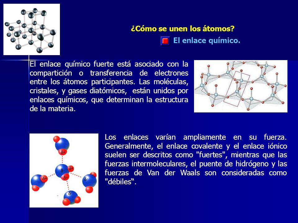 El enlace químico. ¿Cómo se unen los átomos? El enlace químico fuerte está asociado con la compartición o transferencia de electrones entre los átomos