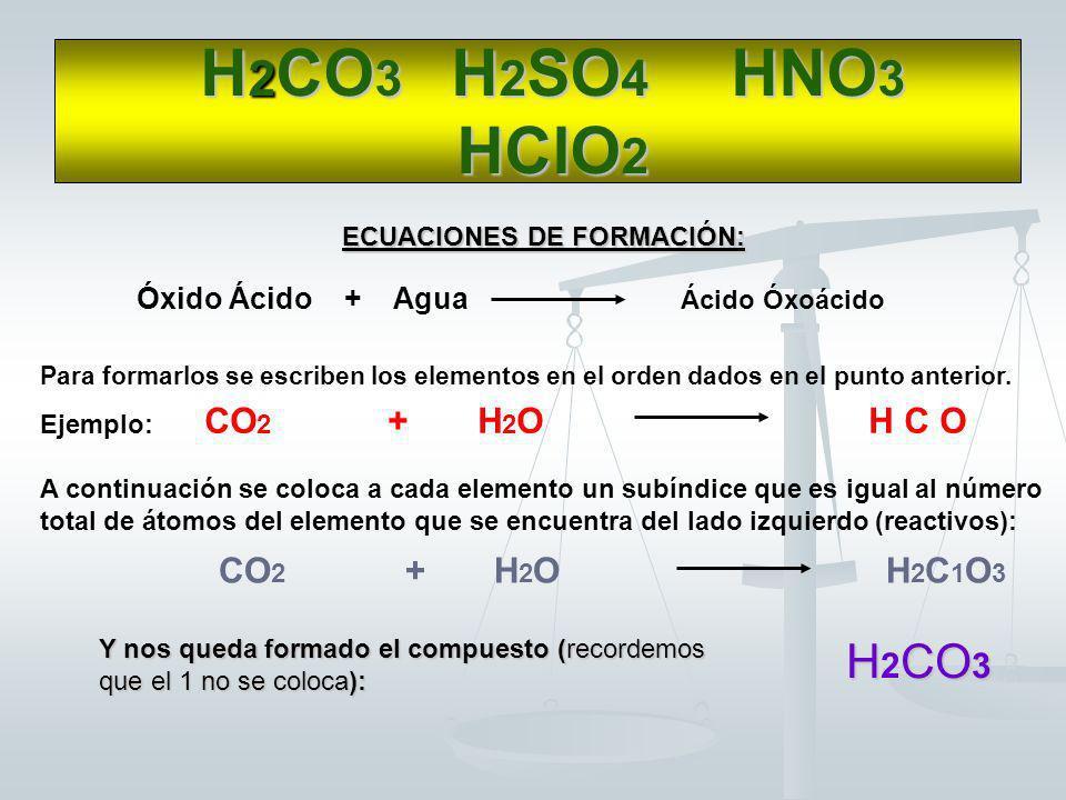 Se suma el número de valencia del no metal al subíndice del Hidrógeno y se lo divide por la valencia del Oxígeno (que siempre es 2) Y nos quedan forma