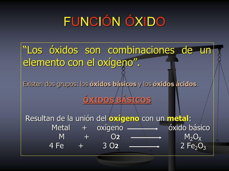 FUNCIÓN ÓXIDO Los óxidos son combinaciones de un elemento con el oxígeno.