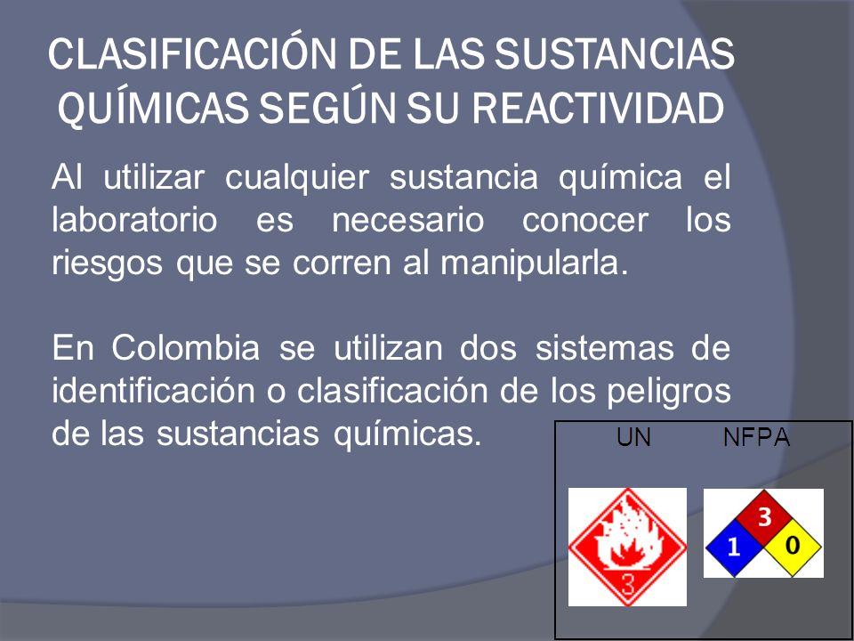 CLASIFICACIÓN DE LAS SUSTANCIAS QUÍMICAS SEGÚN SU REACTIVIDAD Al utilizar cualquier sustancia química el laboratorio es necesario conocer los riesgos