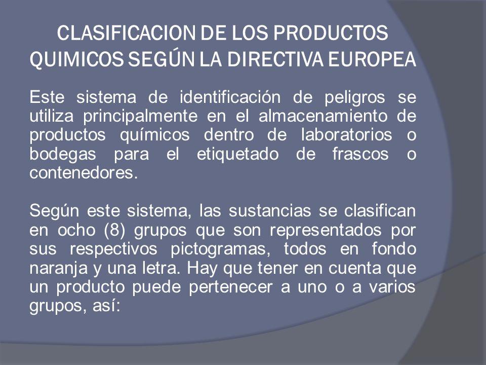 CLASIFICACION DE LOS PRODUCTOS QUIMICOS SEGÚN LA DIRECTIVA EUROPEA Este sistema de identificación de peligros se utiliza principalmente en el almacena