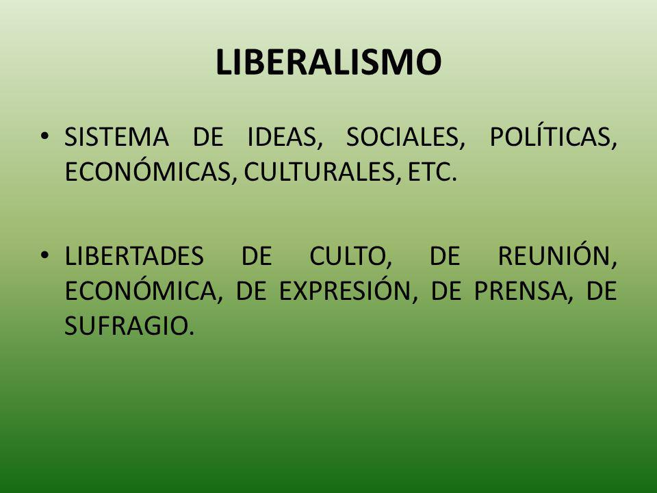 LIBERALISMO SISTEMA DE IDEAS, SOCIALES, POLÍTICAS, ECONÓMICAS, CULTURALES, ETC. LIBERTADES DE CULTO, DE REUNIÓN, ECONÓMICA, DE EXPRESIÓN, DE PRENSA, D