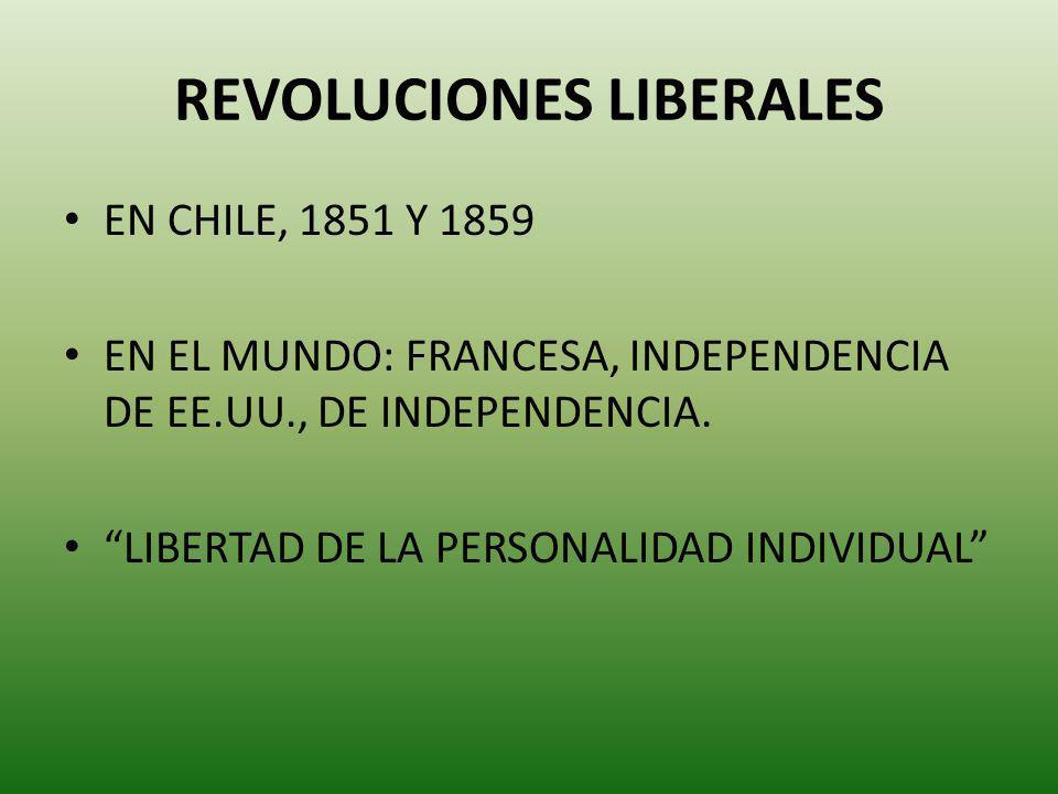 REVOLUCIONES LIBERALES EN CHILE, 1851 Y 1859 EN EL MUNDO: FRANCESA, INDEPENDENCIA DE EE.UU., DE INDEPENDENCIA. LIBERTAD DE LA PERSONALIDAD INDIVIDUAL