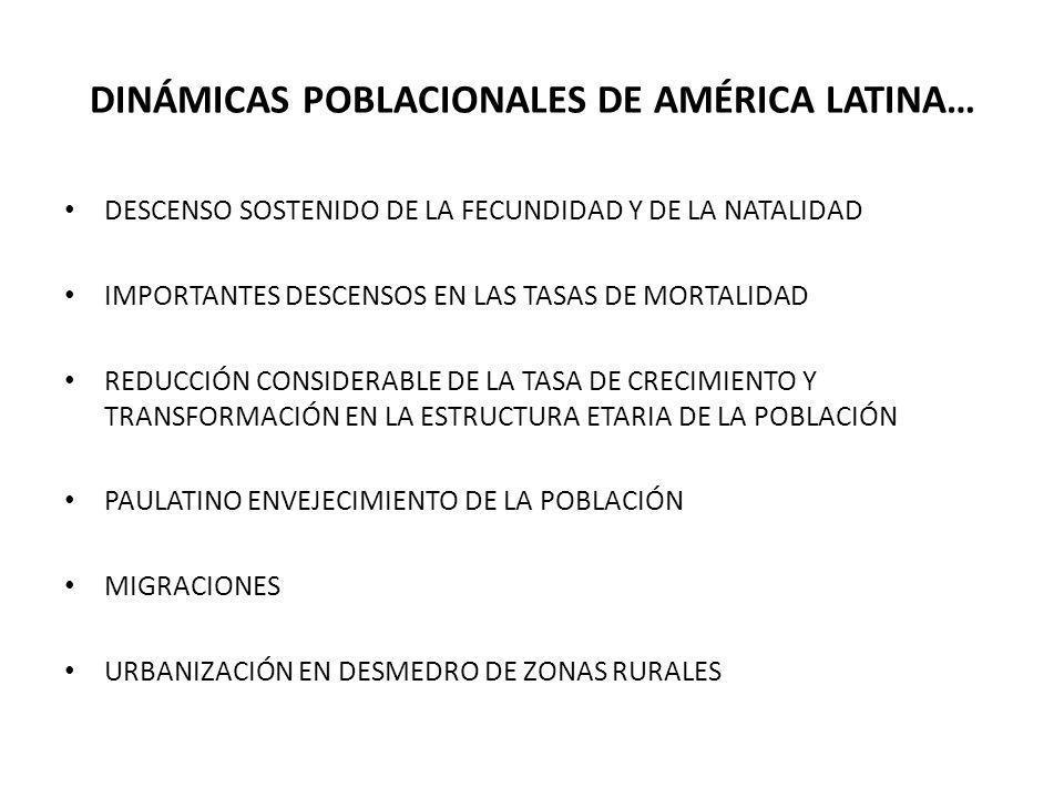 DINÁMICAS POBLACIONALES DE AMÉRICA LATINA… DESCENSO SOSTENIDO DE LA FECUNDIDAD Y DE LA NATALIDAD IMPORTANTES DESCENSOS EN LAS TASAS DE MORTALIDAD REDU
