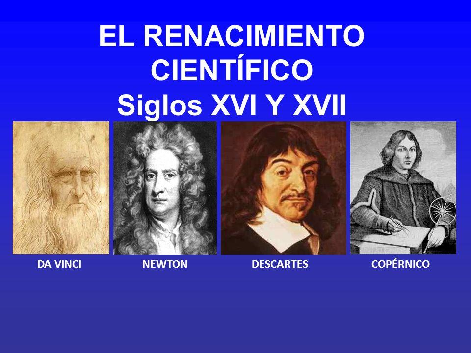 EL RENACIMIENTO CIENTÍFICO Siglos XVI Y XVII DA VINCINEWTONDESCARTESCOPÉRNICO