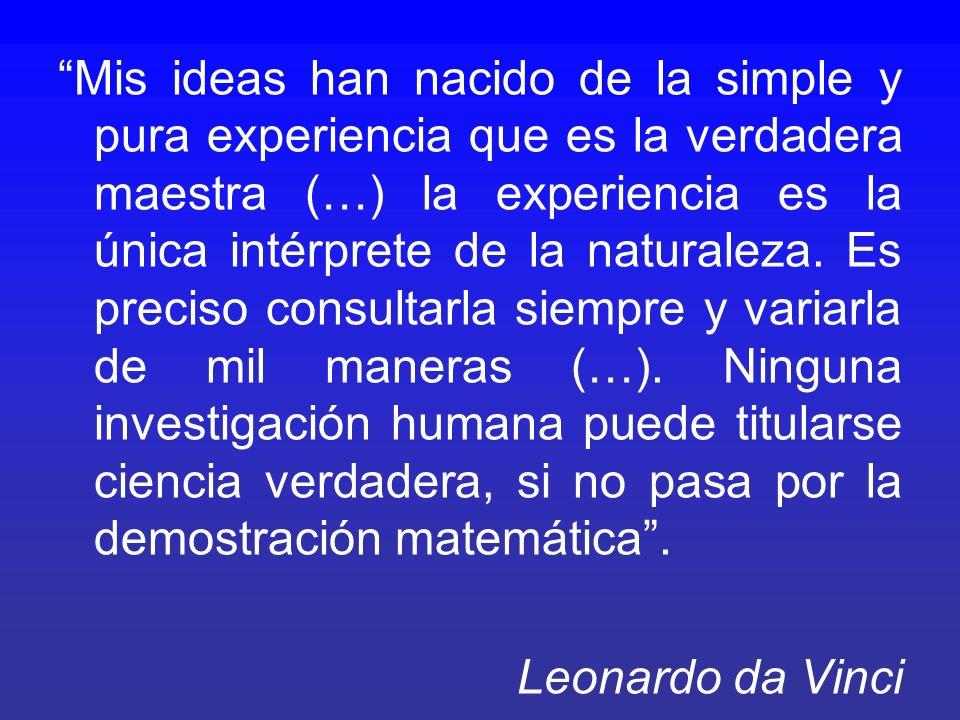 Mis ideas han nacido de la simple y pura experiencia que es la verdadera maestra (…) la experiencia es la única intérprete de la naturaleza. Es precis