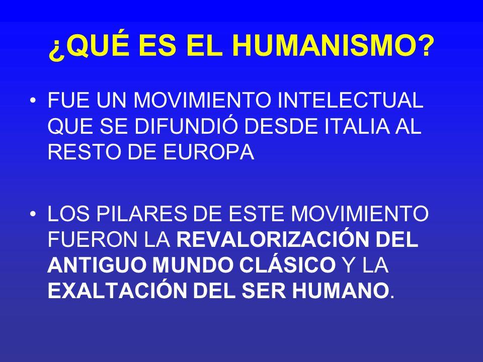 ¿QUÉ ES EL HUMANISMO? FUE UN MOVIMIENTO INTELECTUAL QUE SE DIFUNDIÓ DESDE ITALIA AL RESTO DE EUROPA LOS PILARES DE ESTE MOVIMIENTO FUERON LA REVALORIZ