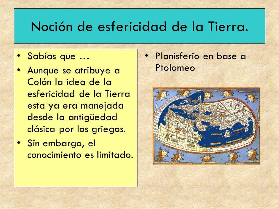 Noción de esfericidad de la Tierra. Sabías que … Aunque se atribuye a Colón la idea de la esfericidad de la Tierra esta ya era manejada desde la antig