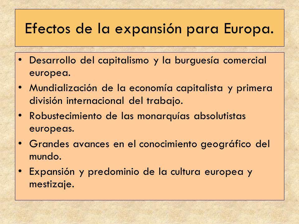 Efectos de la expansión para Europa. Desarrollo del capitalismo y la burguesía comercial europea. Mundialización de la economía capitalista y primera
