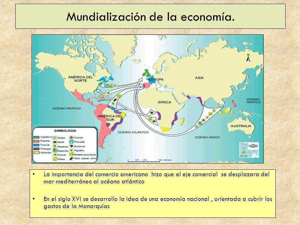 Mundialización de la economía. La importancia del comercio americano hizo que el eje comercial se desplazara del mar mediterráneo al océano atlánticoL