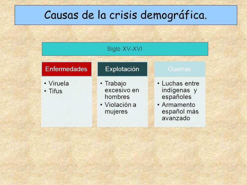Enfermedades Viruela Tifus Explotación Trabajo excesivo en hombres Violación a mujeres Guerras Luchas entre indígenas y españoles Armamento español má