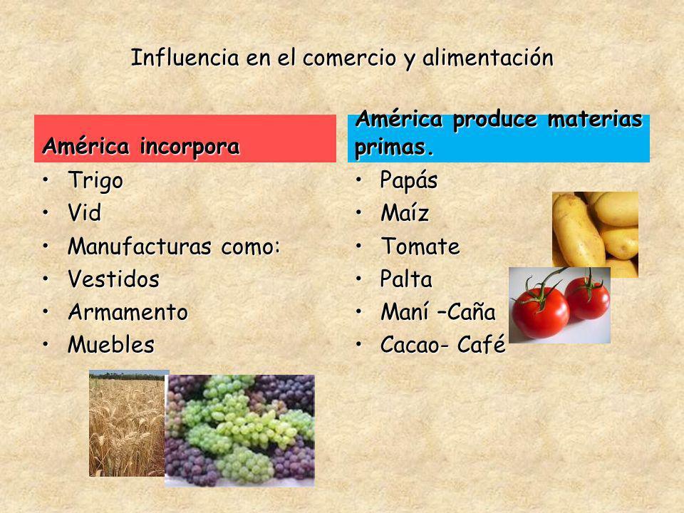 Influencia en el comercio y alimentación América incorpora TrigoTrigo VidVid Manufacturas como:Manufacturas como: VestidosVestidos ArmamentoArmamento