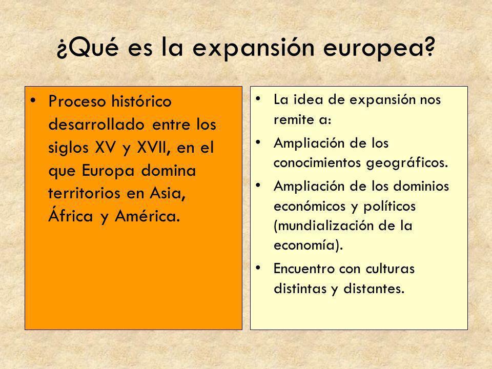 ¿Qué es la expansión europea? Proceso histórico desarrollado entre los siglos XV y XVII, en el que Europa domina territorios en Asia, África y América
