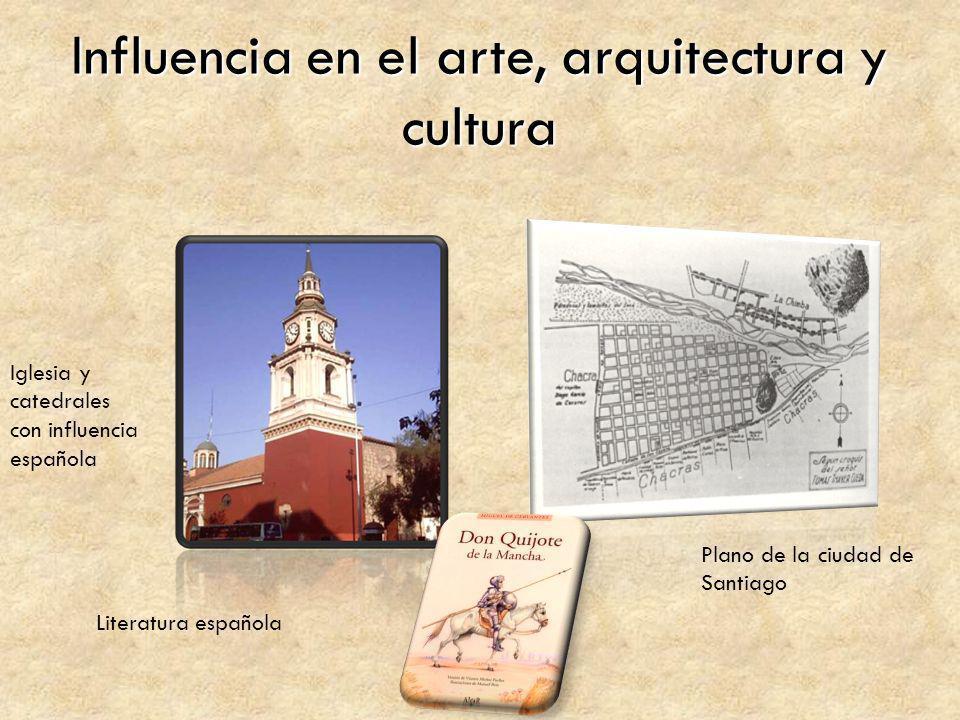 Influencia en el arte, arquitectura y cultura Iglesia y catedrales con influencia española Plano de la ciudad de Santiago Literatura española