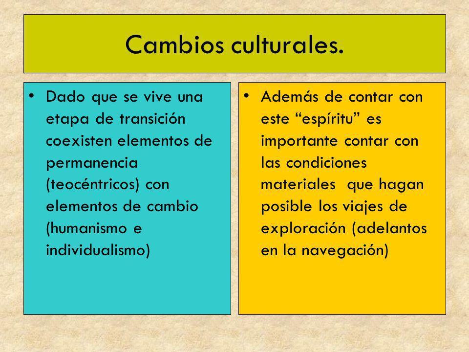 Cambios culturales. Dado que se vive una etapa de transición coexisten elementos de permanencia (teocéntricos) con elementos de cambio (humanismo e in