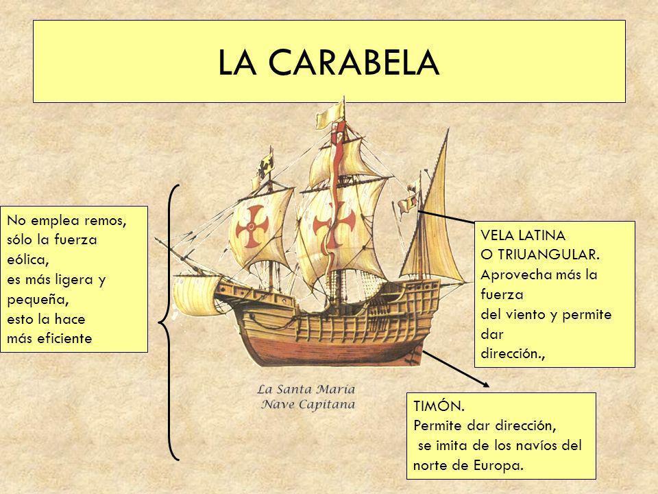 LA CARABELA TIMÓN. Permite dar dirección, se imita de los navíos del norte de Europa. VELA LATINA O TRIUANGULAR. Aprovecha más la fuerza del viento y