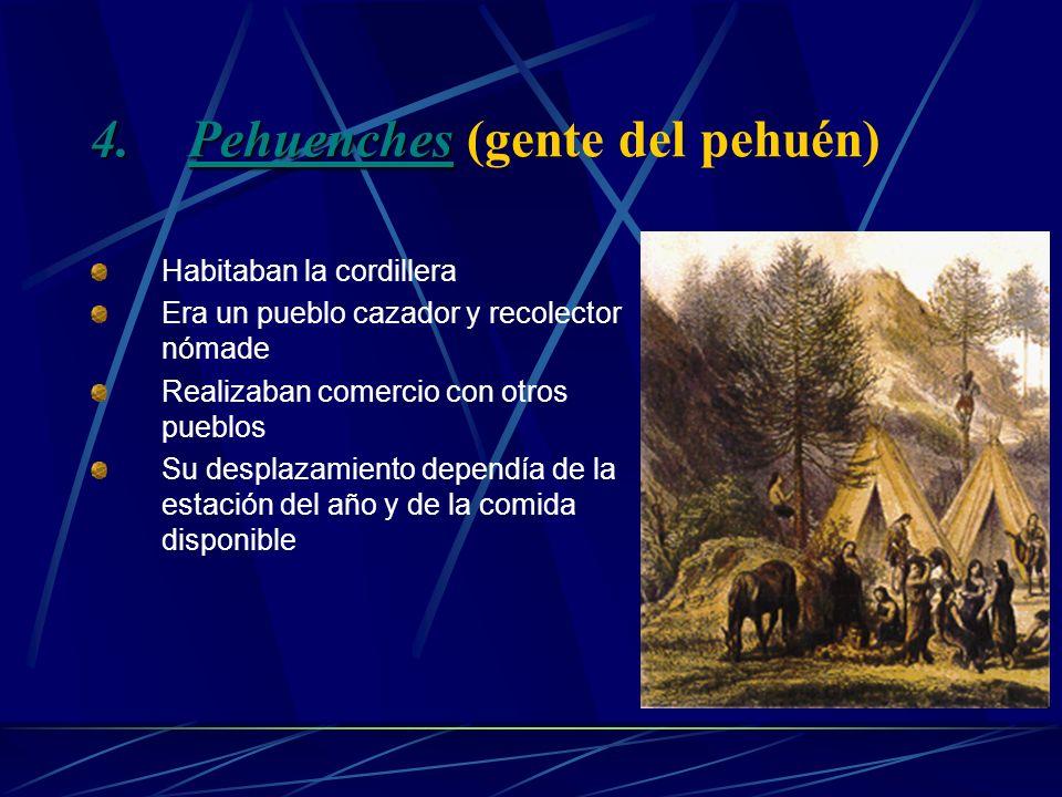 3.Huilliches (gente del sur) Fueron un Pueblo agroalfarero Se supone que vienen de los Picunches Debido a una guerra tuvieron que migrar al sur Se ubi