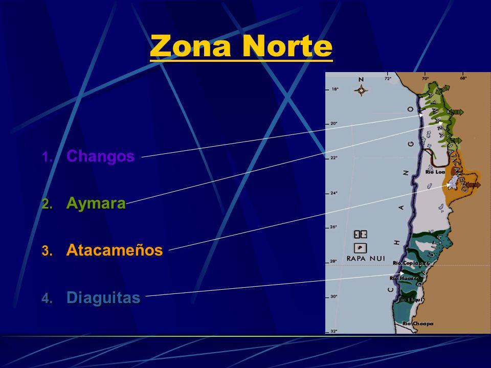 Zona Norte 1. Changos 2. Aymara 3. Atacameños 4. Diaguitas
